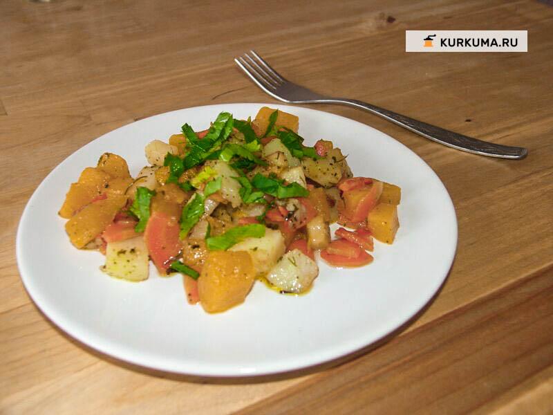 Рагу из картошки и тыквы с листьями шамбалы
