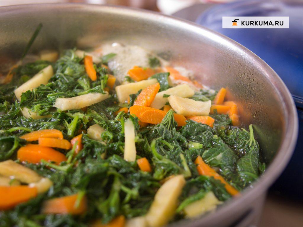 Овощной суп с крапивой