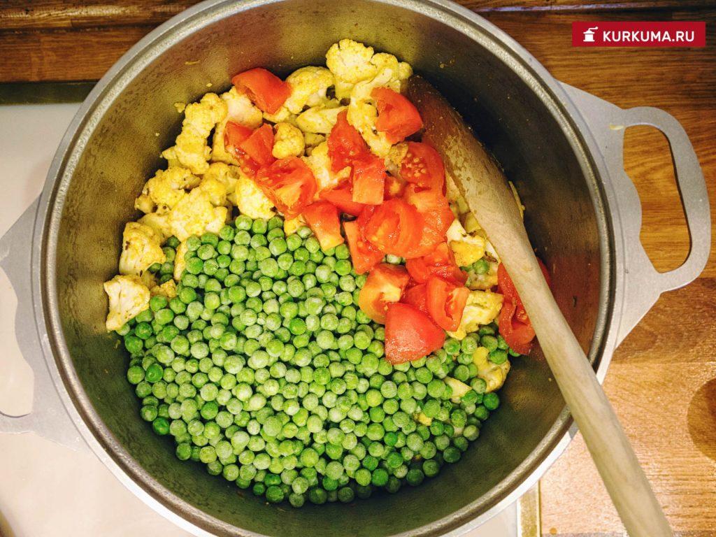 Цветная капуста с зеленым горошком