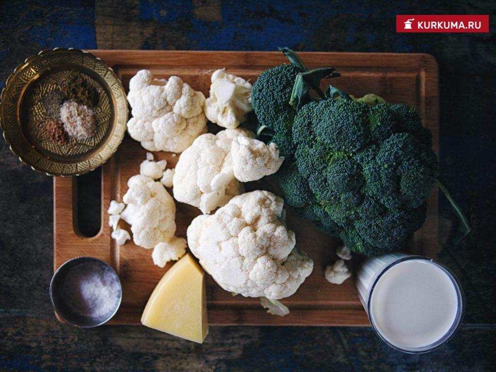 Гратен из цветной капусты и брокколи
