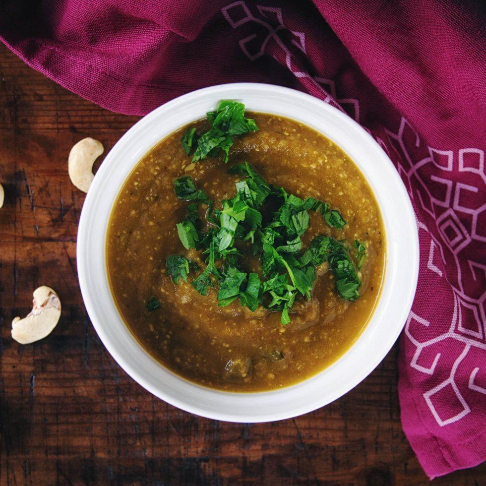 Сливочный суп с баклажанами и помидорами - рецепт