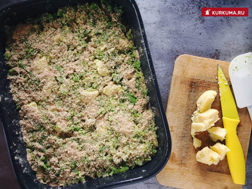 Запеканка из брокколи и риса